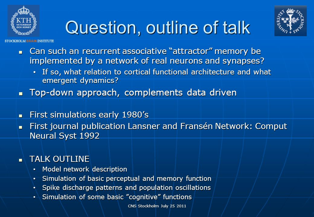 Question, outline of talk