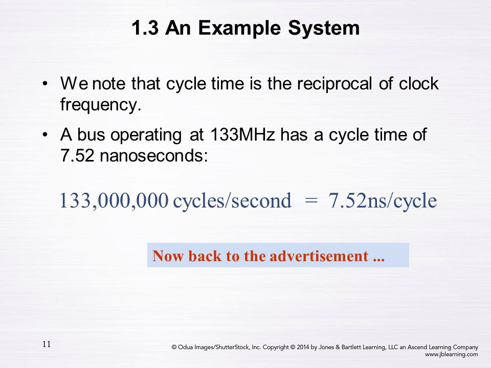 133,000,000 cycles/second = 7.52ns/cycle