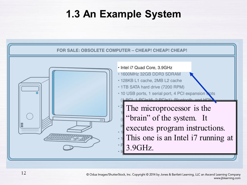 1.3 An Example System The microprocessor is the brain of the system.