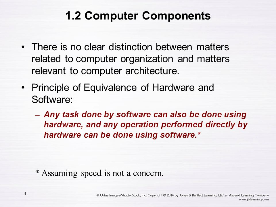 1.2 Computer Components There is no clear distinction between matters related to computer organization and matters relevant to computer architecture.