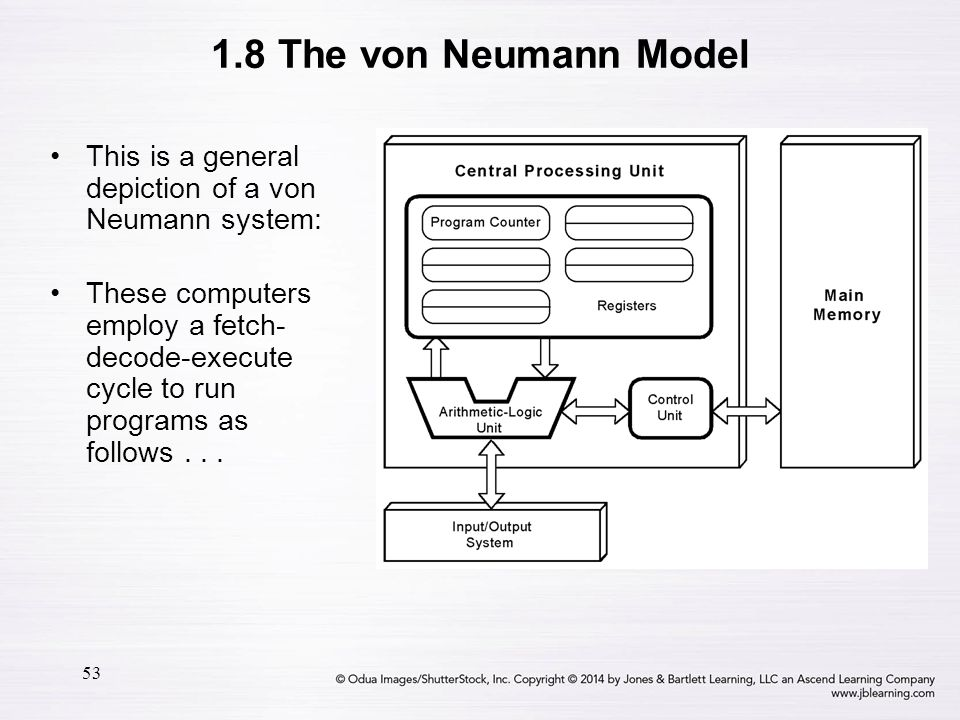 1.8 The von Neumann Model This is a general depiction of a von Neumann system: