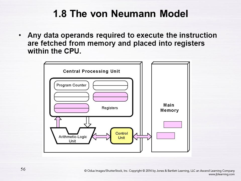 1.8 The von Neumann Model Any data operands required to execute the instruction are fetched from memory and placed into registers within the CPU.