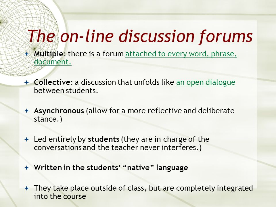 The on-line discussion forums