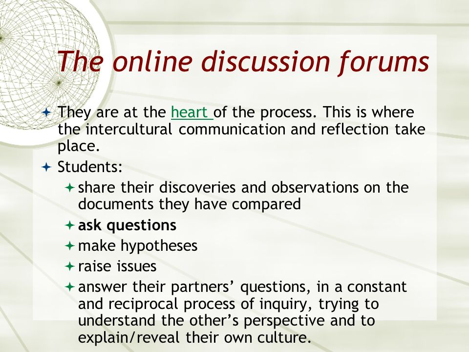 The online discussion forums