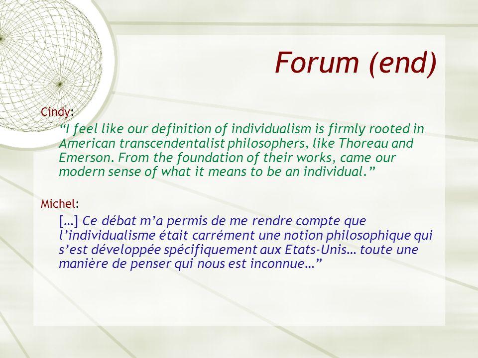 Forum (end) Cindy: