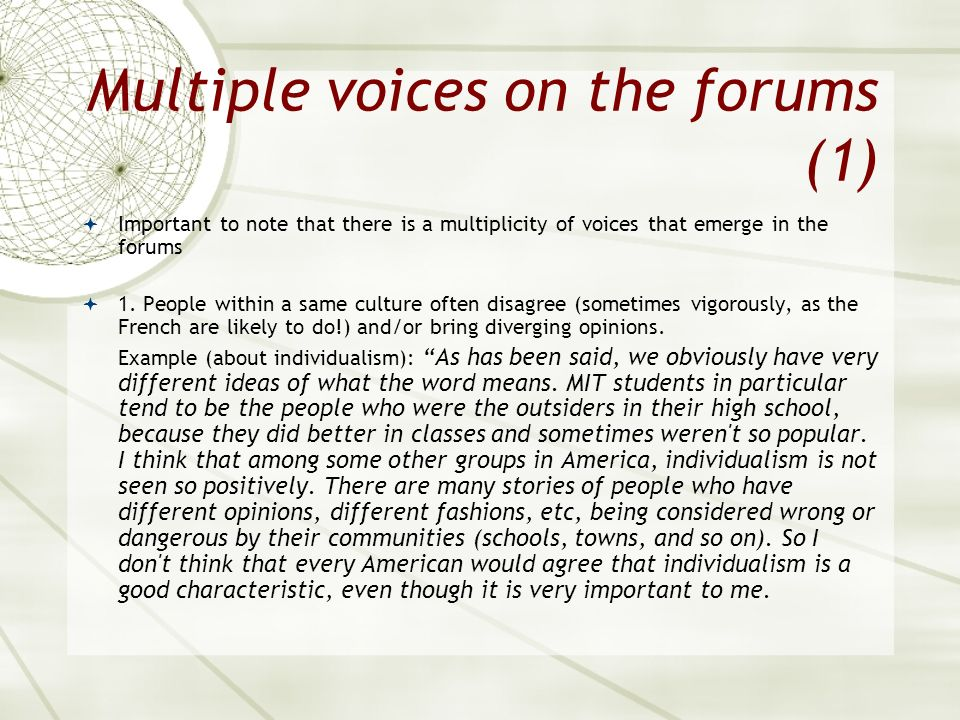 Multiple voices on the forums (1)