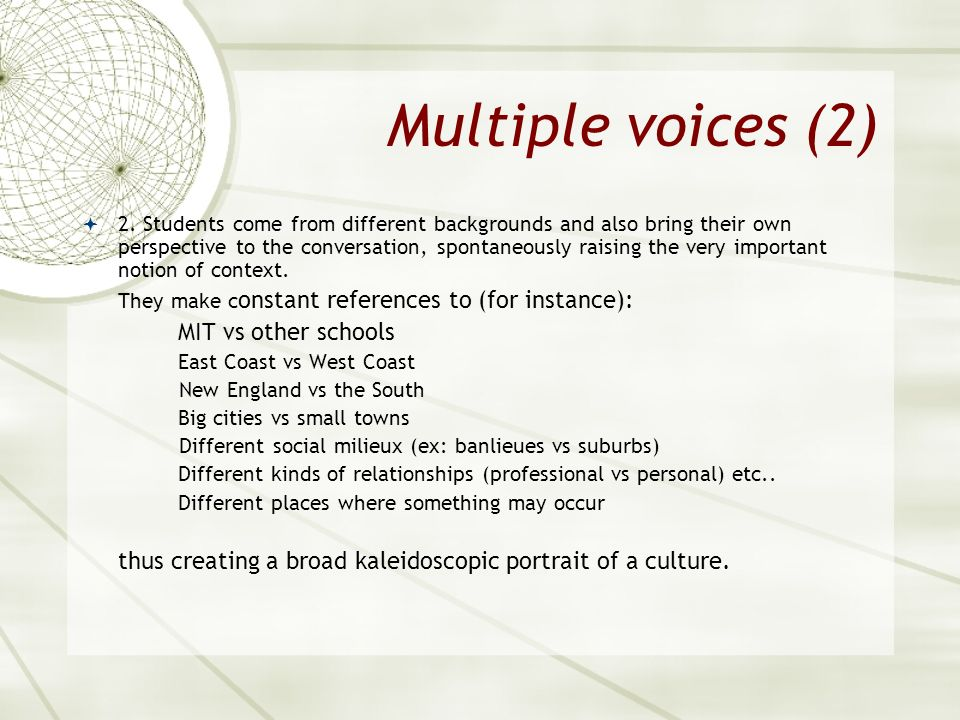 Multiple voices (2) MIT vs other schools