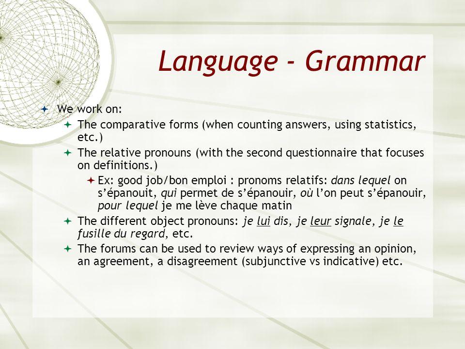 Language - Grammar We work on: