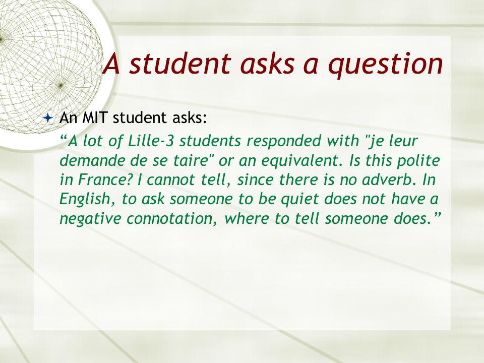 A student asks a question