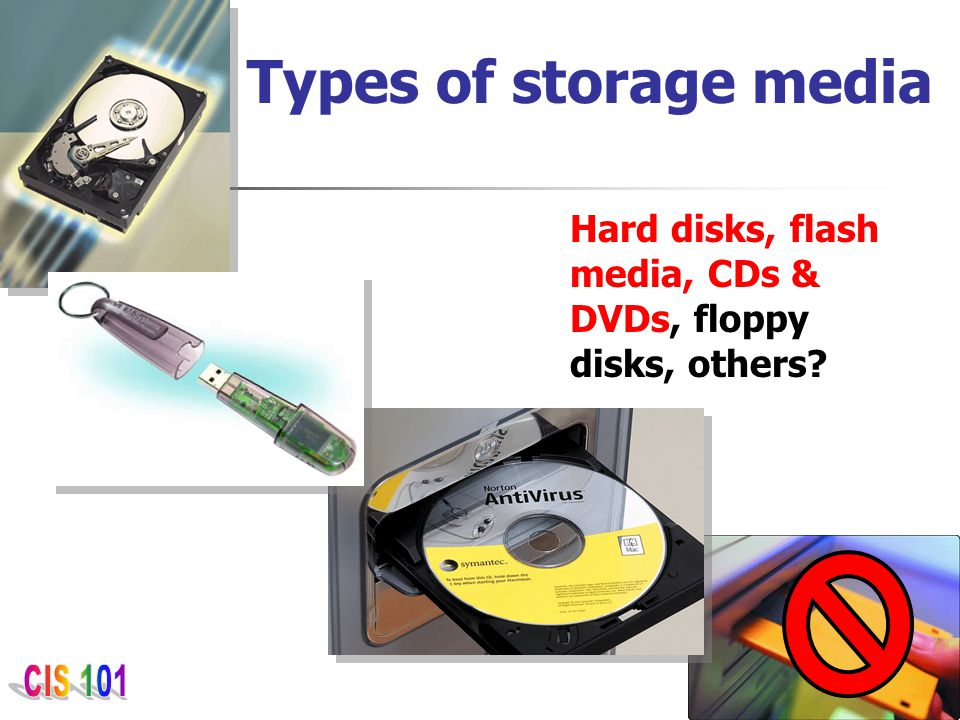 Types of storage media Hard disks, flash media, CDs & DVDs, floppy disks, others