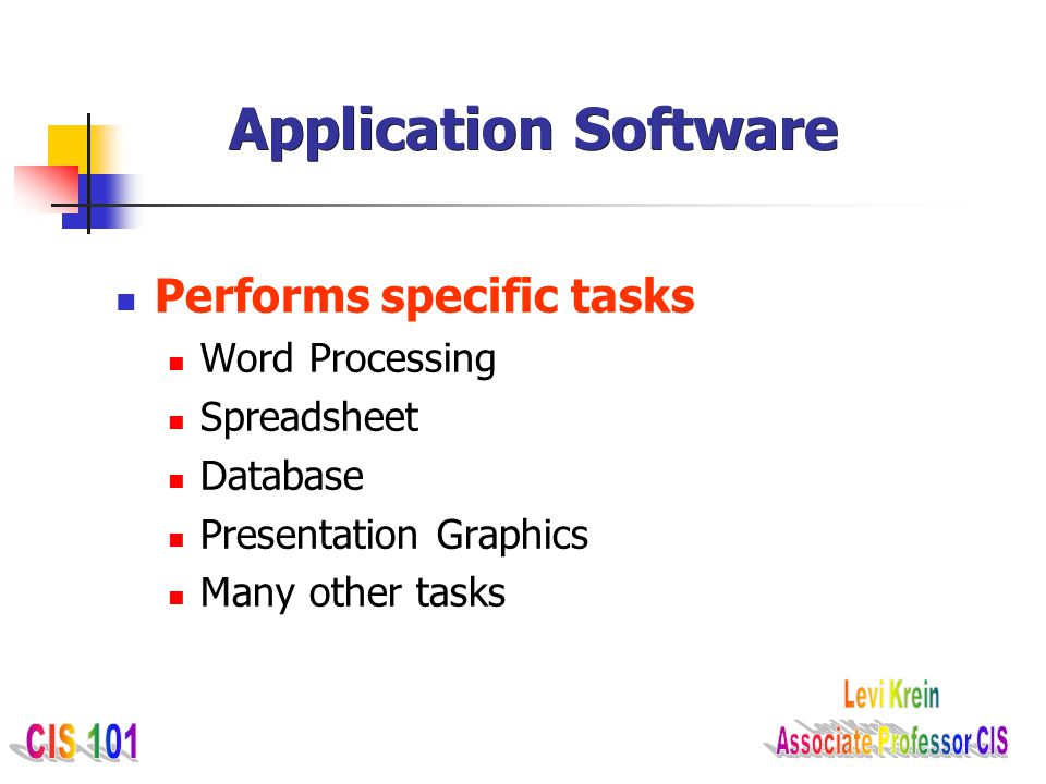 Application Software Performs specific tasks Word Processing