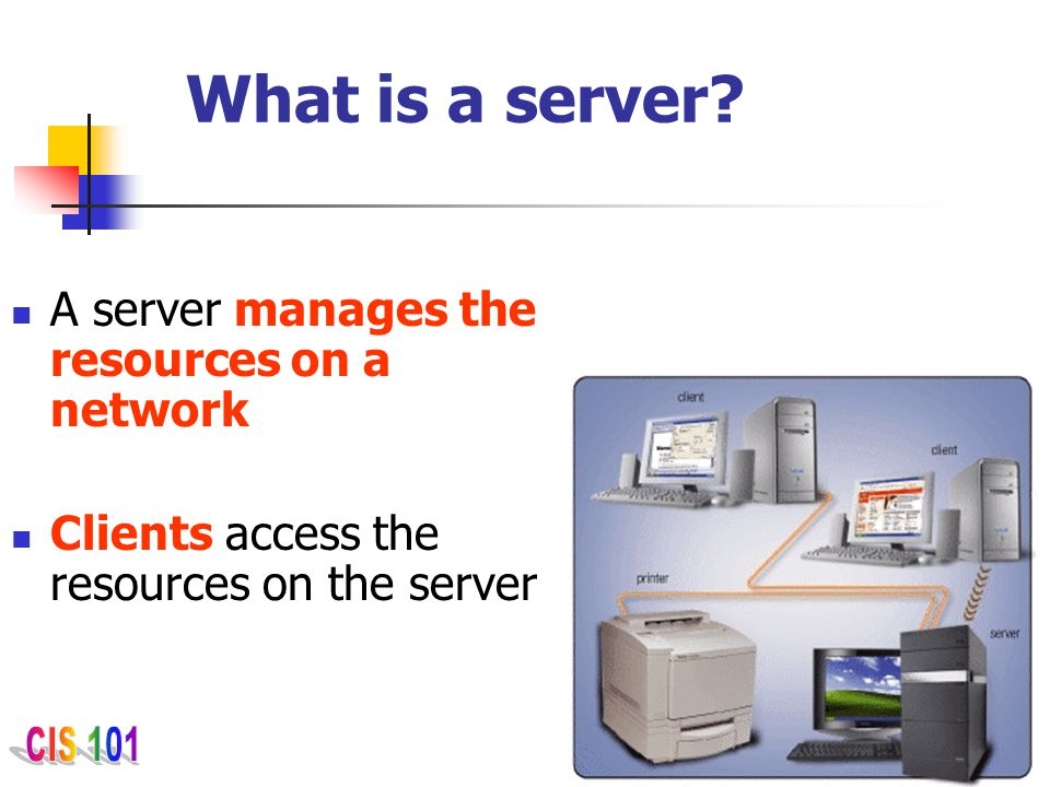 What is a server A server manages the resources on a network
