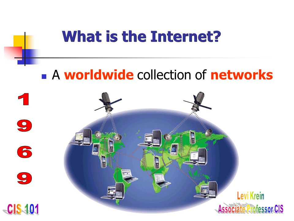 What is the Internet A worldwide collection of networks 1969