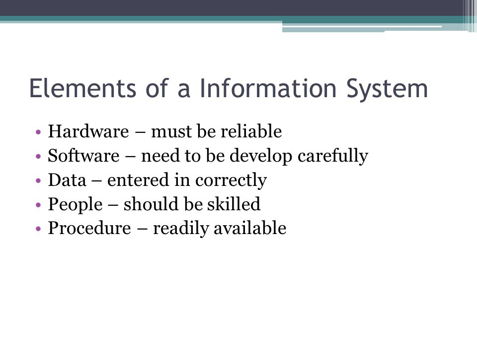Elements of a Information System