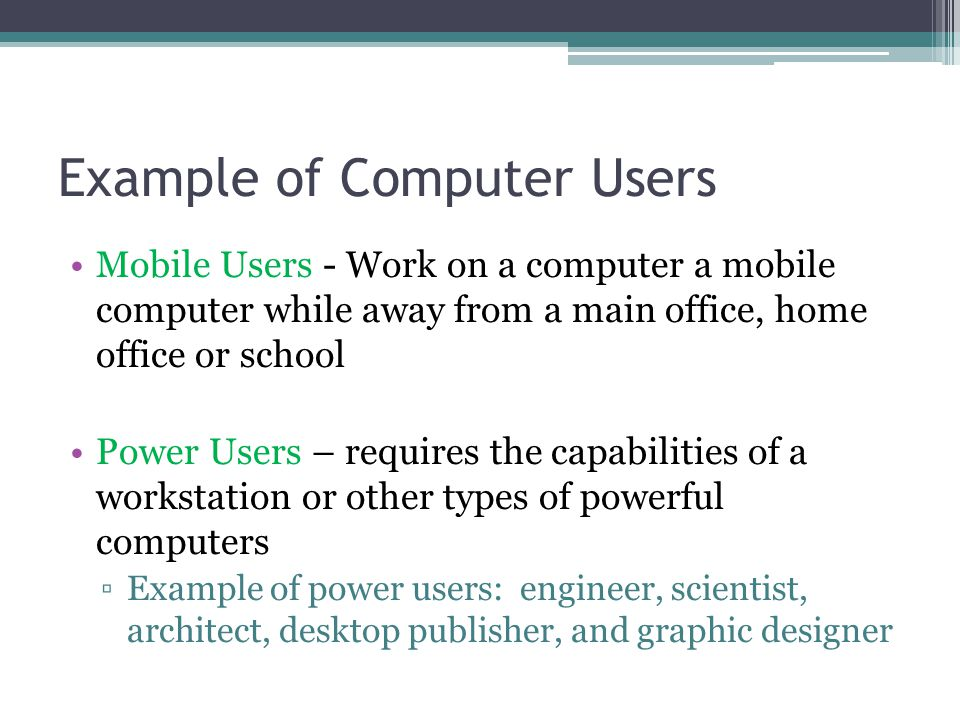 Example of Computer Users
