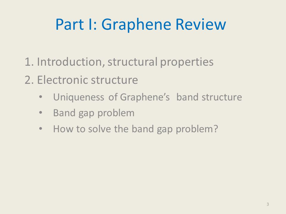 Part I: Graphene Review