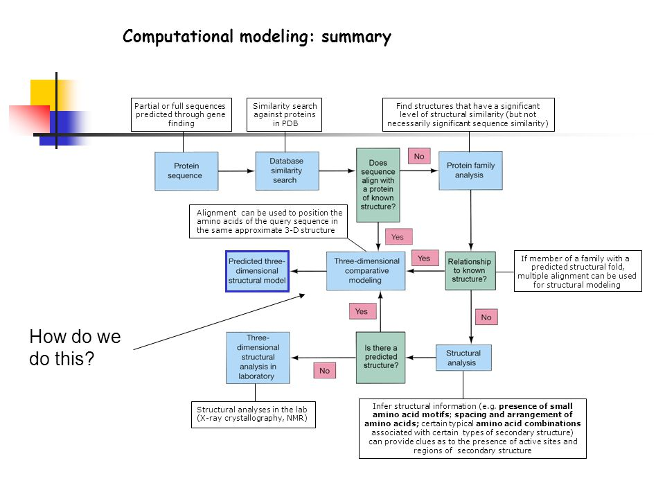 How do we do this Computational modeling: summary DNA/RNA overview