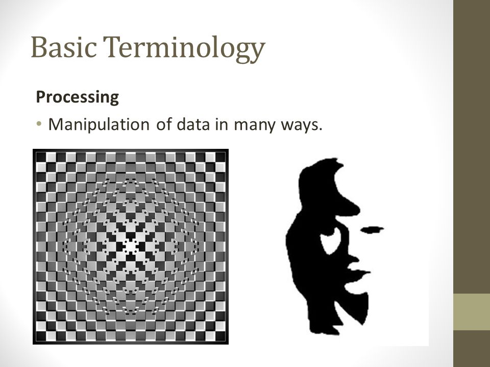 Basic Terminology Processing Manipulation of data in many ways.