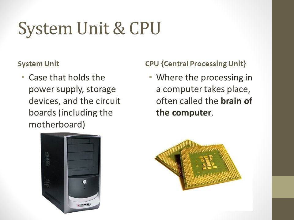 System Unit & CPU System Unit. CPU {Central Processing Unit}
