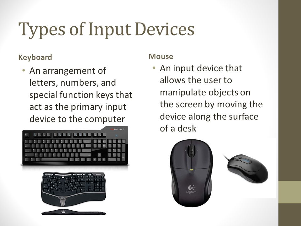 Types of Input Devices Keyboard. Mouse.