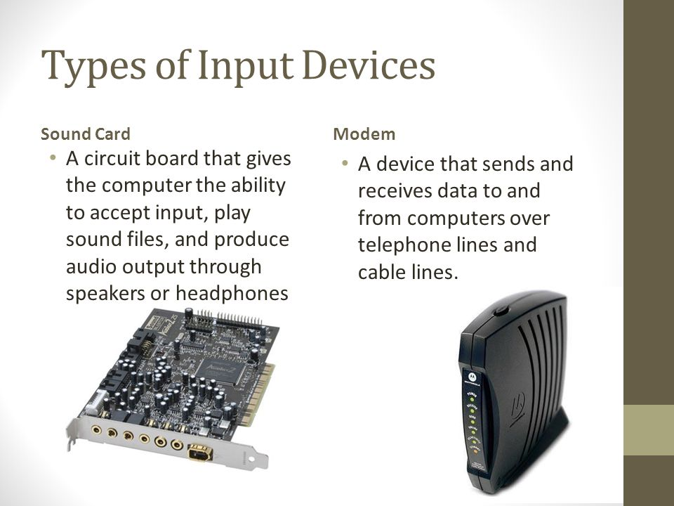 Types of Input Devices Sound Card. Modem.