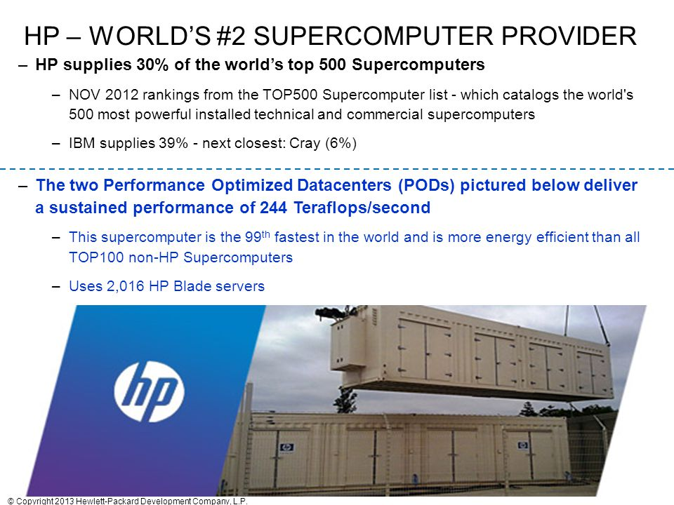 HP – world's #2 Supercomputer provider