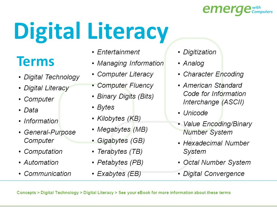 Digital Literacy Terms Entertainment Managing Information