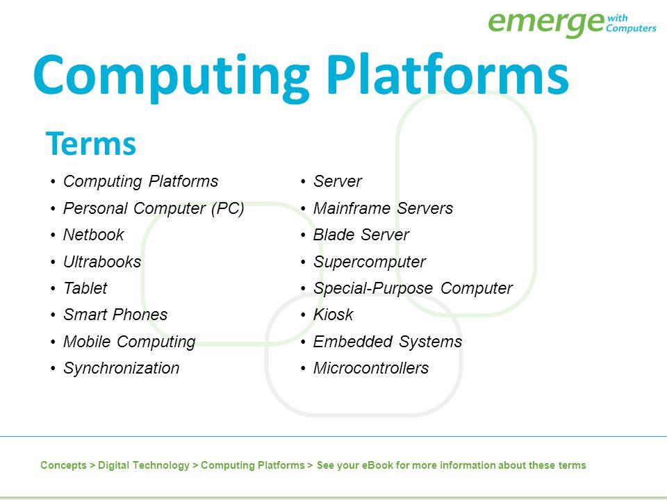 Computing Platforms Terms Computing Platforms Personal Computer (PC)