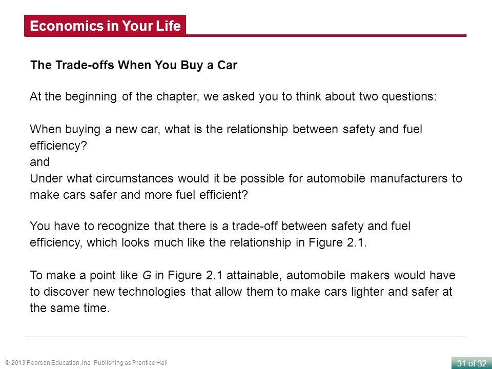 Economics in Your Life The Trade-offs When You Buy a Car