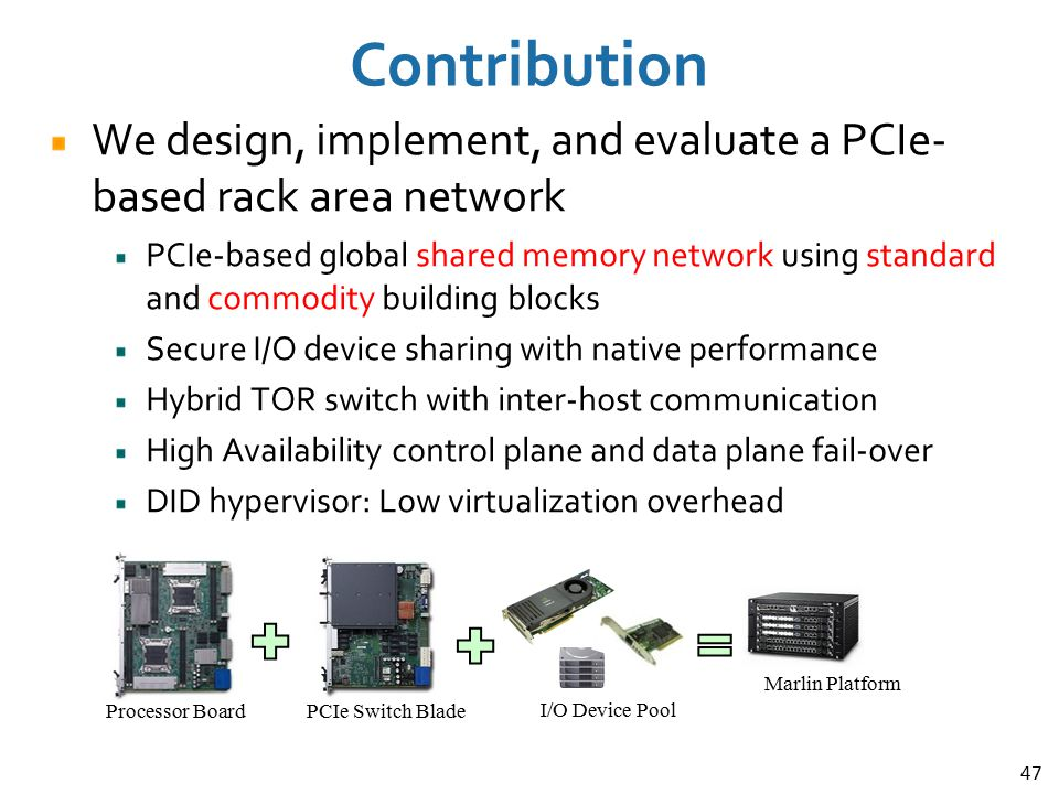 Contribution We design, implement, and evaluate a PCIe-based rack area network.