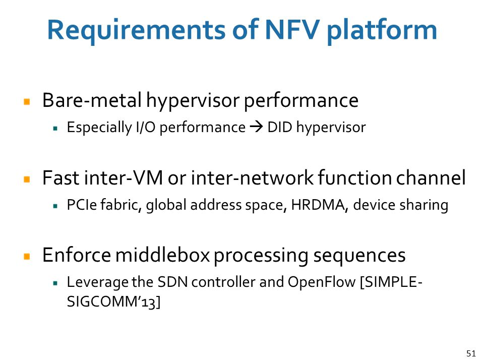 Requirements of NFV platform