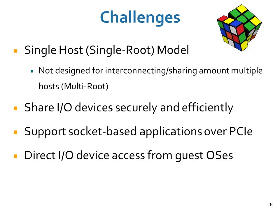 Challenges Single Host (Single-Root) Model