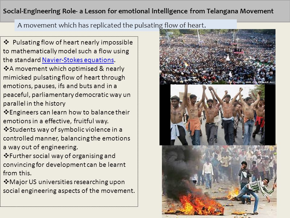 Social-Engineering Role- a Lesson for emotional intelligence from Telangana Movement