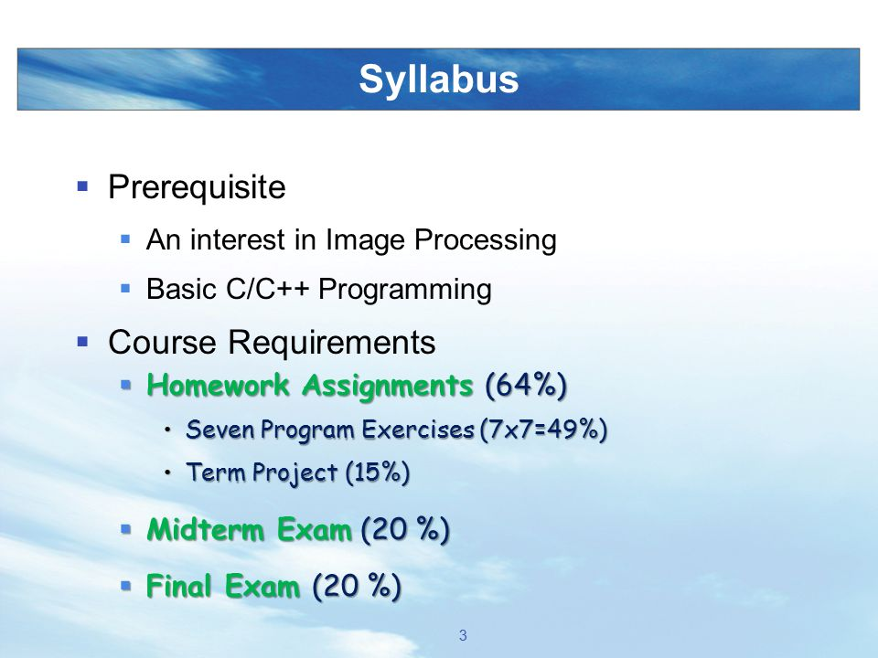 Syllabus Prerequisite Course Requirements