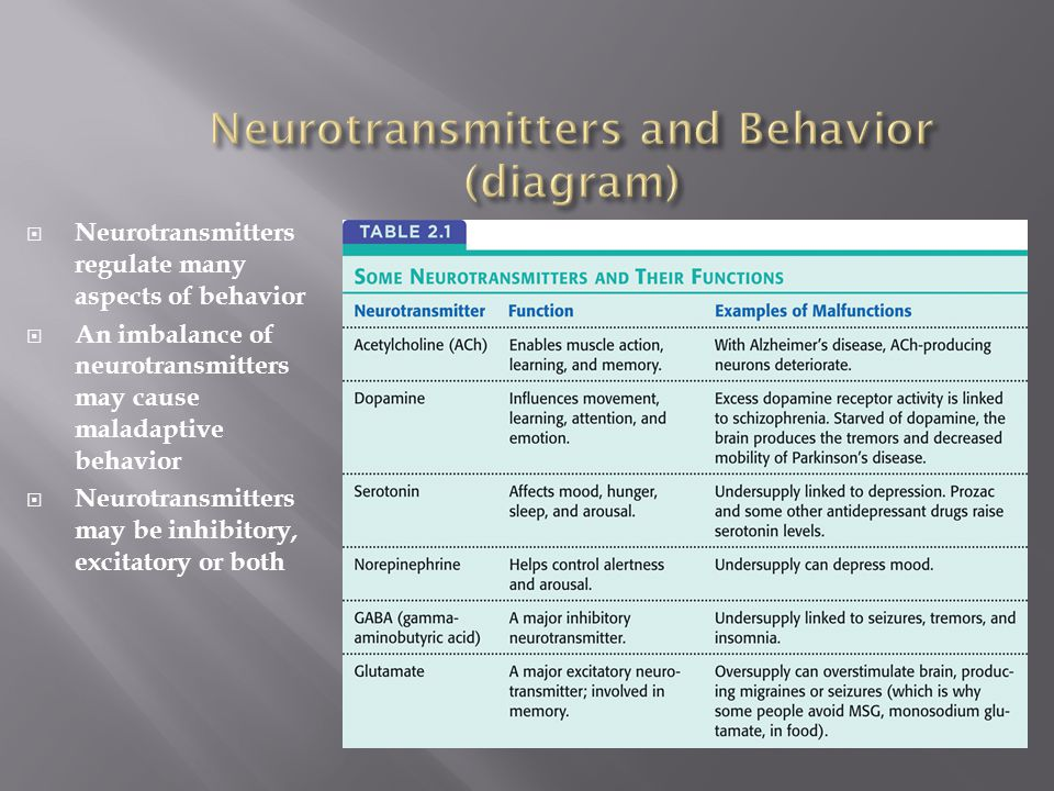 Neurotransmitters and Behavior (diagram)
