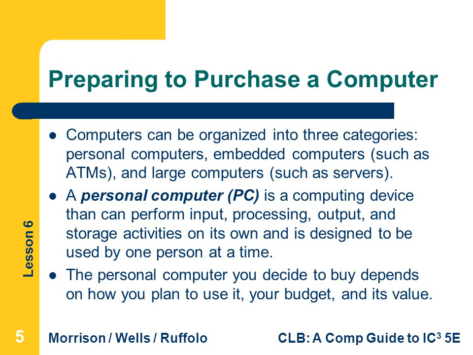 Preparing to Purchase a Computer