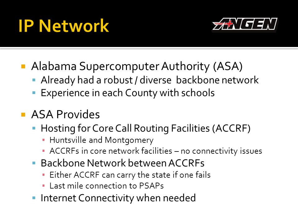 IP Network Alabama Supercomputer Authority (ASA) ASA Provides