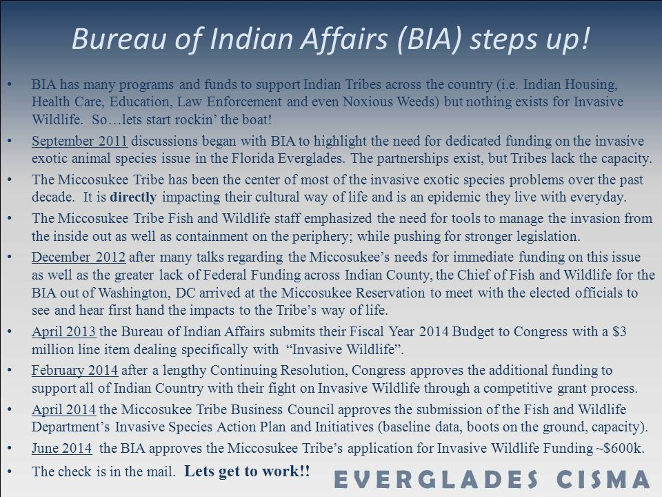 Bureau of Indian Affairs (BIA) steps up!