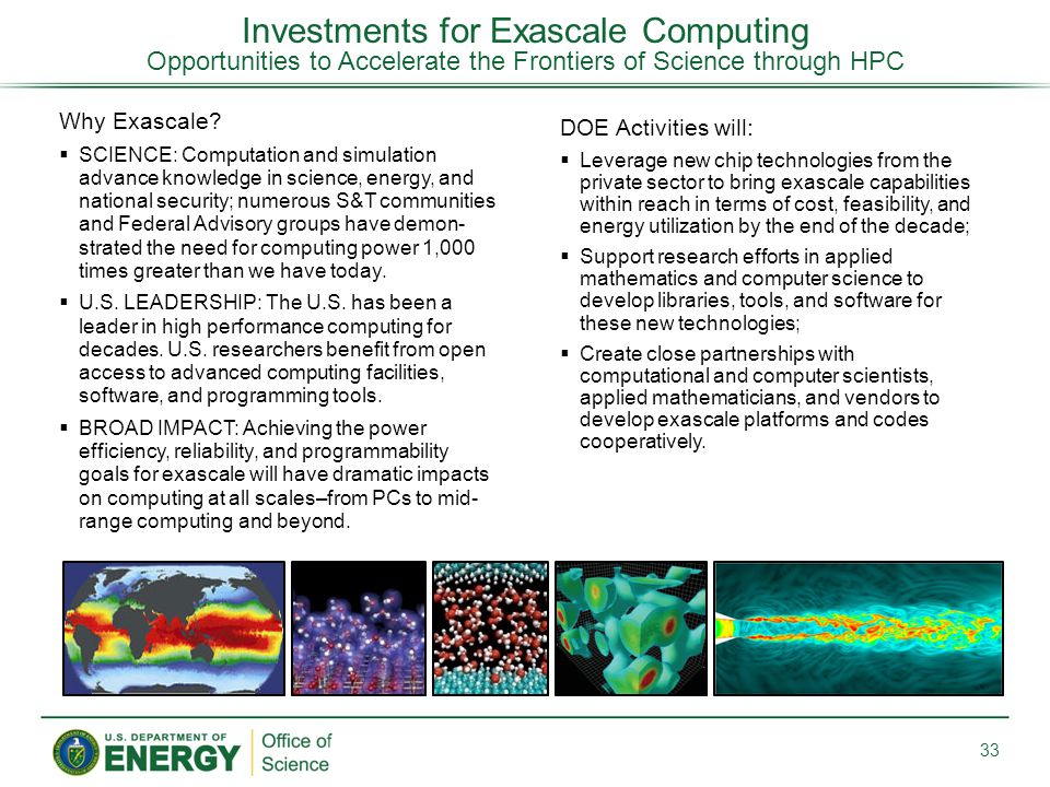 Investments for Exascale Computing