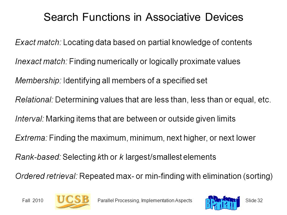 Search Functions in Associative Devices