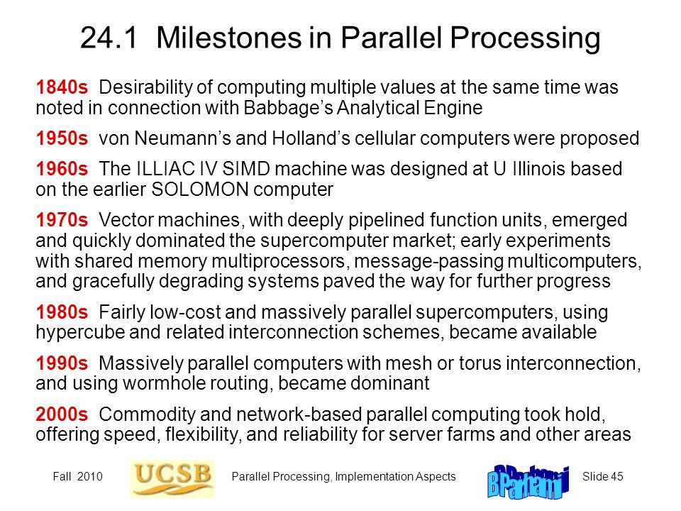 24.1 Milestones in Parallel Processing