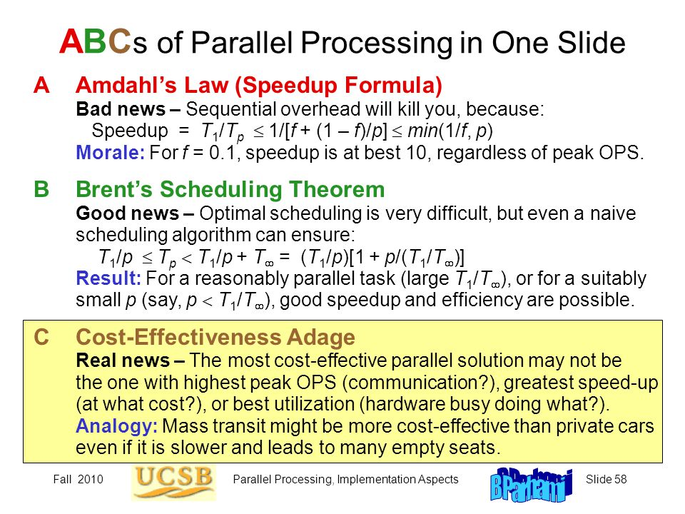 ABCs of Parallel Processing in One Slide