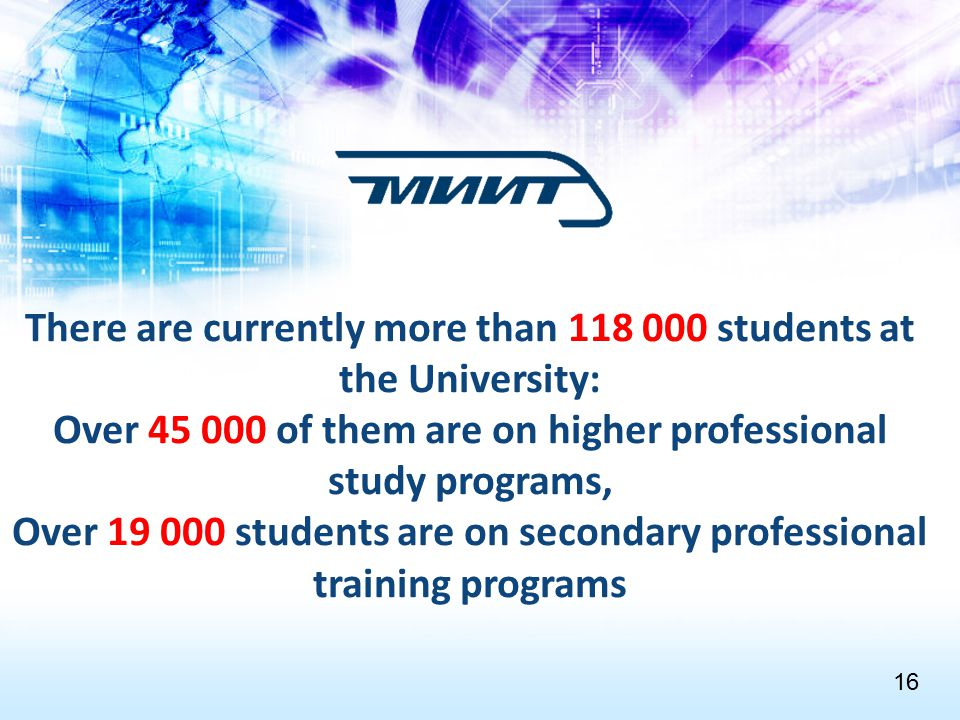 There are currently more than 118 000 students at the University: