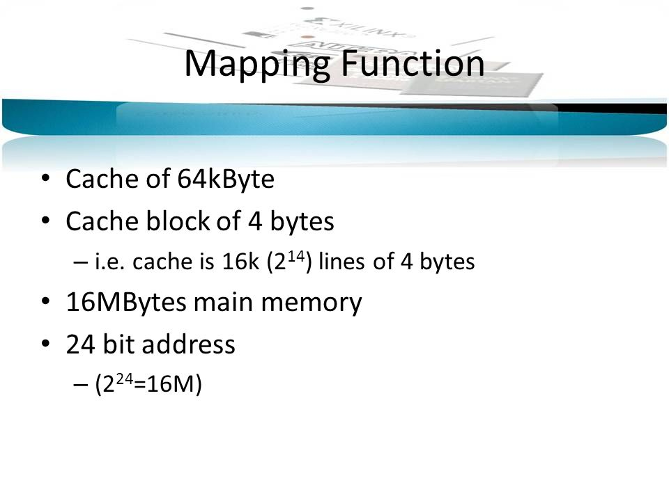 Mapping Function Cache of 64kByte Cache block of 4 bytes