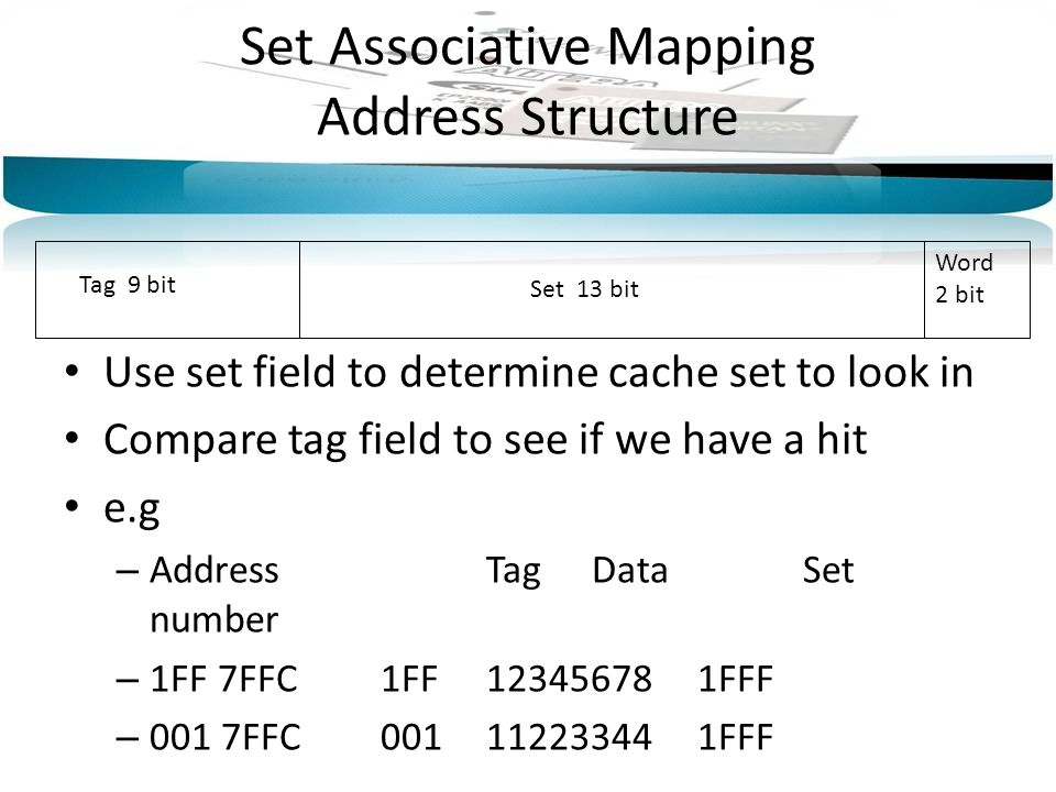 Set Associative Mapping Address Structure