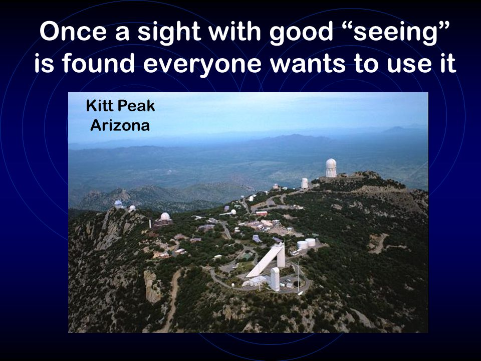 Once a sight with good seeing is found everyone wants to use it