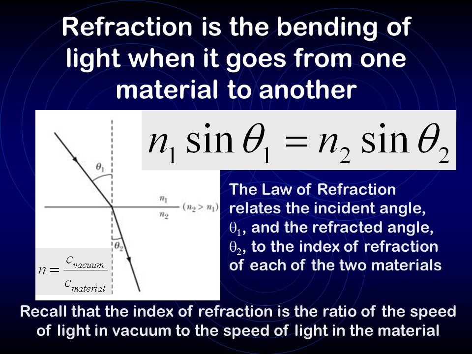 Refraction is the bending of light when it goes from one material to another