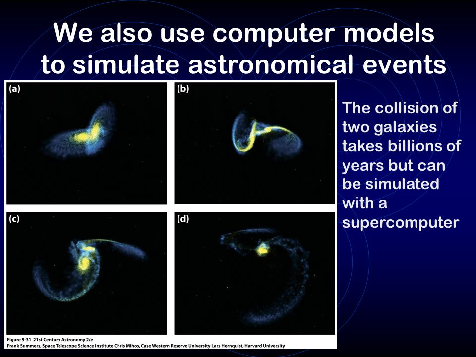 We also use computer models to simulate astronomical events
