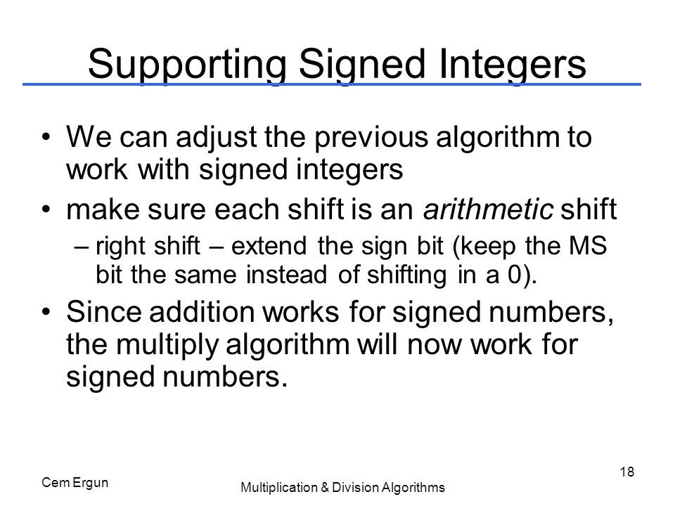Supporting Signed Integers