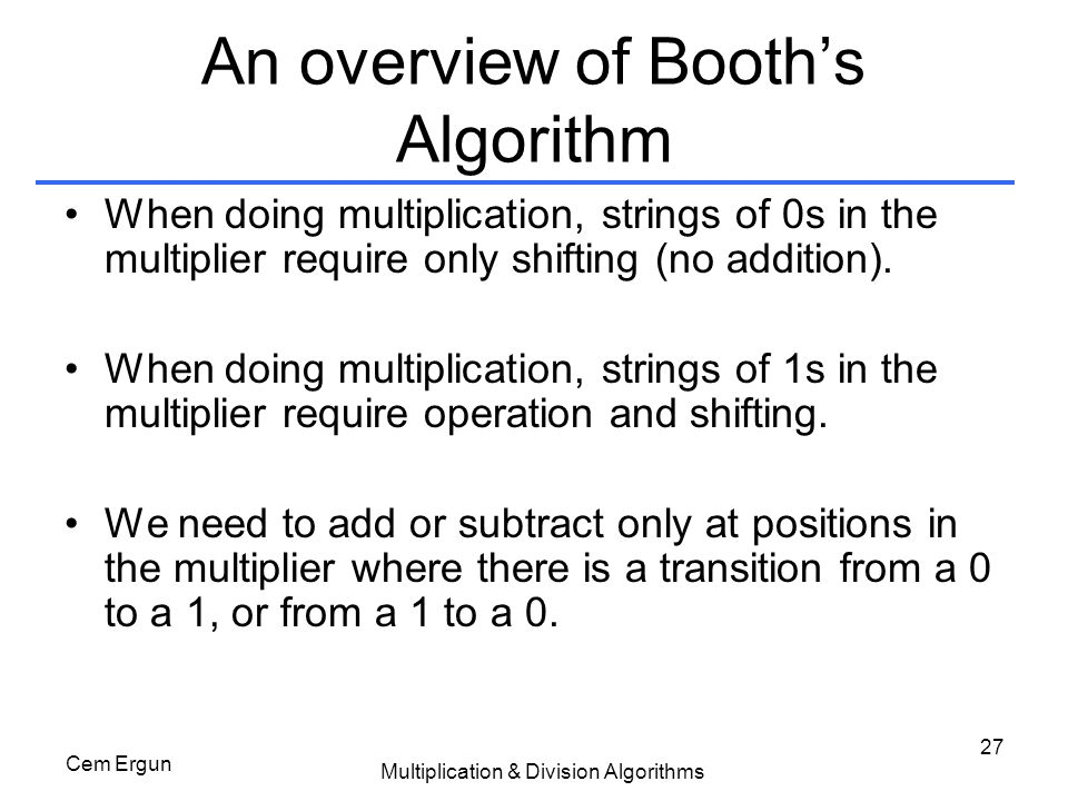 An overview of Booth's Algorithm